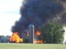 Barn fire in Woolwich township.