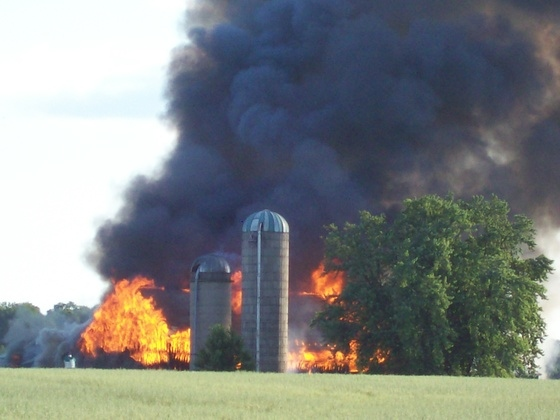 A two-year-old boy is missing at the site of a fire that destroyed a barn in Woolwich township. (Kim Belanger / MyNews)