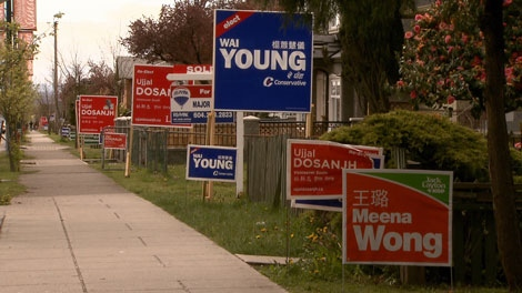 Campaign signs line the streets of Vancouver South. April 26, 2011. (CTV)