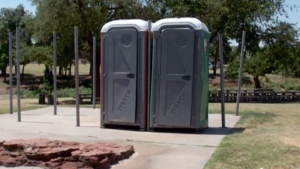 Portable washrooms are shown in this file photo.