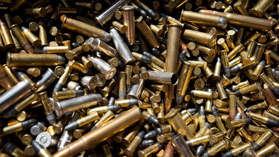 Shell casings and bullets that were turned in as part of a province-wide gun amnesty program are displayed during an RCMP news conference in Richmond, B.C., on Friday July 12, 2013. (Darryl Dyck / THE CANADIAN PRESS)