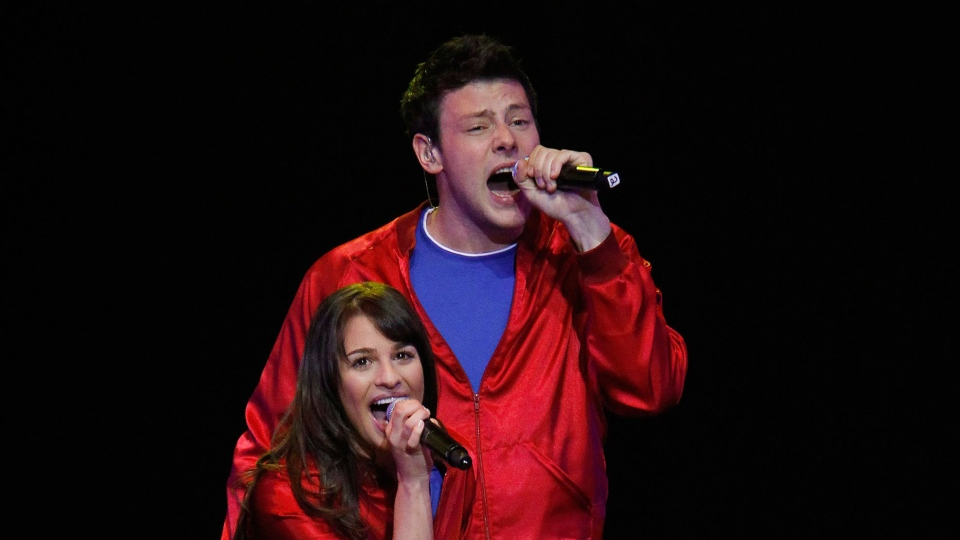 Cory Monteith and Lea Michele sing together on stage in this undated image.