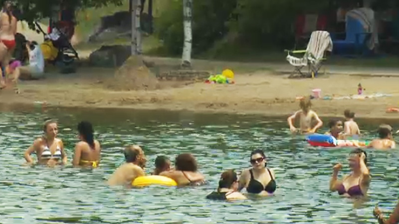 Even too hot for the beach? A beach in Montreal was less-than-full on an intensely hot day Sunday. (CTV Montreal)