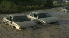 High River flooding - cars