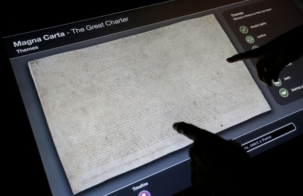 Display showing a picture of the Magna Carta
