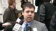 Steven Krys, defense lawyer for Brian Dickson answers questions in front of the Ontario Court of Justice on Tuesday, April 26, 2011.