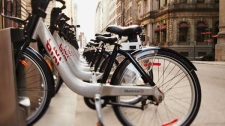 A curbside bicycle service being offered in Montreal, Toronto and Ottawa this summer will provide a breath of fresh air for tourists.The BIXI bicycle sharing program will allow visitors to take in the sights, get some exercise and save money by leaving their gas-guzzlers in the hotel parking lot. (Public Bike System Company / THE CANADIAN PRESS)