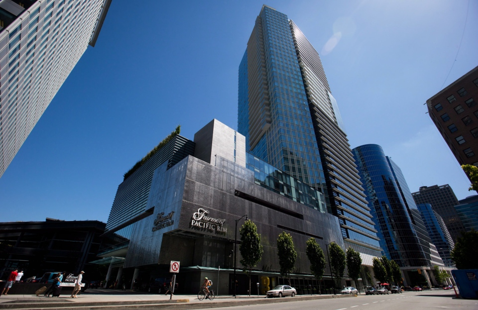 The Fairmont Pacific Rim Hotel, where Canadian actor Cory Monteith died Saturday, is pictured in Vancouver, B.C., on Sunday, July 14, 2013. (Darryl Dyck / THE CANADIAN PRESS)