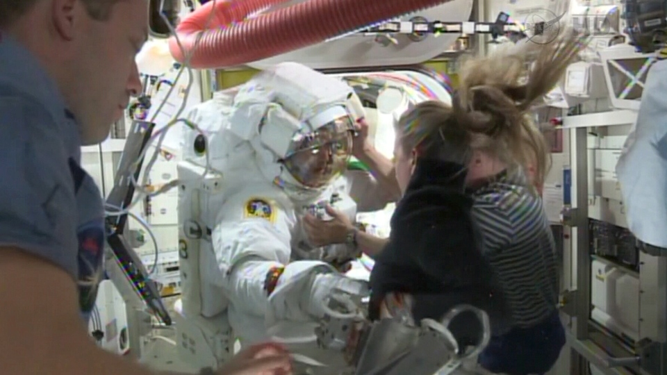 Astronaut Luca Parmitano is seen after a helmet leak forced him to abort a spacewalk at the ISS, Tuesday, July 16, 2013.