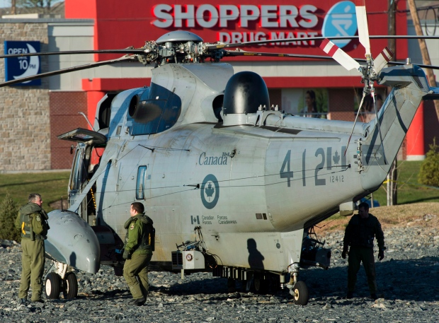 Sea King helicopter damaged upon landing