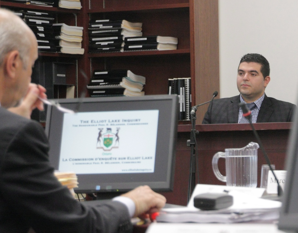 Levon Nazarian, son of the Algo Centre Mall owner, is seen at the inquiry into the mall's collapse in Elliot Lake, Ont., on Tuesday, July 16, 2013. (Colin Perkel / THE CANADIAN PRESS)