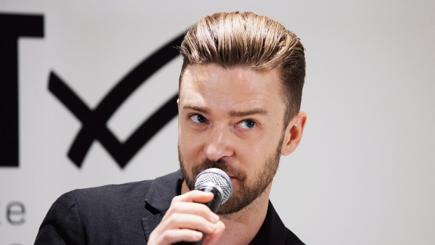 Justin Timberlake is interviewed at the Hudson's Bay store to promote the William Rast clothing line he founded with Trace Ayala in Toronto on Tuesday, July 16, 2013. (THE CANADIAN PRESS/Michelle Siu)