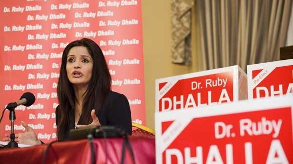 Ruby Dhalla, Liberal candidate for Brampton-Springdale, holds a news conference in Brampton, Ont., Wednesday, April 27, 2011. Dhalla was talking about the abuse of power scandal involving Parm Gill, the Conservative candidate for Brampton-Springdale, and his relationship with Jason Kenny, the Minister of Citizenship and Immigration. (Aaron Vincent Elkaim / THE CANADIAN PRESS)