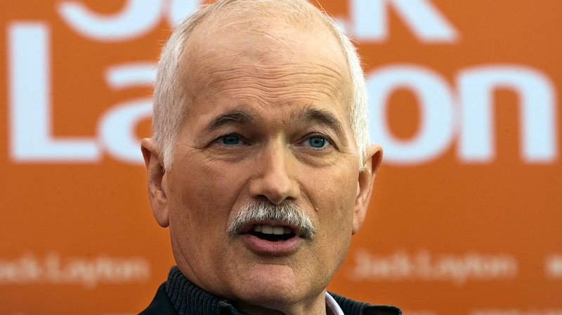 NDP Leader Jack Layton fields a question during a campaign stop at the Indian and Metis Friendship Centre in Winnipeg on Wednesday, April 27, 2011. (Andrew Vaughan / THE CANADIAN PRESS)