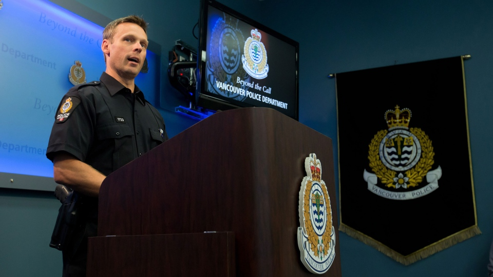 Vancouver Police Const. Brian Montague answers questions about the death of Canadian actor Cory Monteith during a news conference in Vancouver, B.C., on Tuesday July 16, 2013. (Darryl Dyck / THE CANADIAN PRESS)