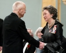 Governor General Adrienne Clarkson (R) presents Alex Colville with the Laureates of the Governor General's Awards in Visual and Media Arts during a ceremony at Rideau Hall in Ottawa, Monday, March 17, 2003. (Dave Chan / THE CANADIAN PRESS)