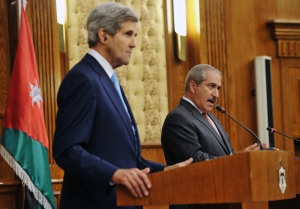 Jordan's Foreign Minister Nasser Judeh speaks during a joint press conference with U.S. Secretary of State John Kerry on Wednesday, July 17, 2013 at the Ministry of Foreign Affairs in the Jordanian capital, Amman. (AP / Mandel Ngan)