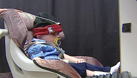Eye-tracker technology is used to measure a babies' eye directions while they look at a computer screen.