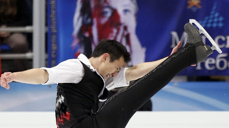 Canada's Patrick Chan skates his short program at the ISU Figure skating World championships in Moscow, Russia, Wednesday, April 27, 2011. (AP Photo/Dmitry Lovetsky)