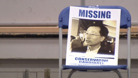 A Missing poster sits in Conservative candidate Ronald Leung's chair at an all-candidates debate in Burnaby-Douglas. April 28, 2011. (CTV)