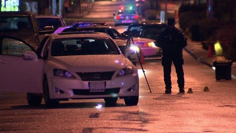A man was shot to death after he confronted the driver of an SUV in Surrey, B.C. on April 28, 2011. (CTV)
