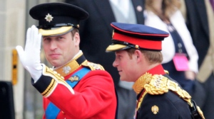 Prince William, left, and his best man Prince Harry arrive at Westminster Abbey at the Royal Wedding in London Friday, April, 29, 2011. (AP / Alastair Grant)