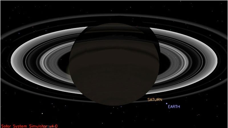 Saturn and Earth are shown in this NASA simulation. (Photo courtesy of NASA.)