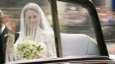 Kate Middleton is seen on her way to Westminster Abbey at the royal wedding in London on Friday, April, 29, 2011