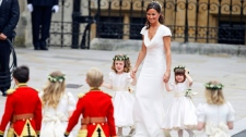 Maid of honour Pippa Middleton arrives with ring bearers Westminster Abbey at the royal wedding in London Friday, April 29, 2011. (AP / Alastair Grant)