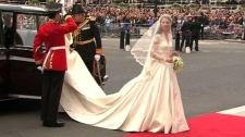 Kate Middleton arrives at Westminster Abbey to wed Prince William in London on Friday, April, 29, 2011.