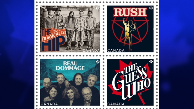 New stamps from Canada Post commemorating classic Canadian rock bands (clockwise from top left) The Tragically Hip, Rush, The Guess Who and Beau Dommage are shown in a handout photo. (Canada Post)