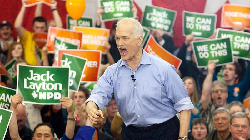 NDP Leader Jack Layton addresses supporters at a campaign rally in Courtenay, B.C. on  Friday, April 29, 2011. (Andrew Vaughan / THE CANADIAN PRESS)