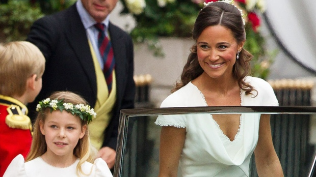 Maid of Honour Pippa Middleton, Kate Middleton's sister, right, and bridesmaid Margarita Armstrong-Jones, second from left, leave the Goring Hotel for Westminster Abbey ahead of the royal wedding, London, Friday, April, 29, 2011. (AP / Joel Ryan)