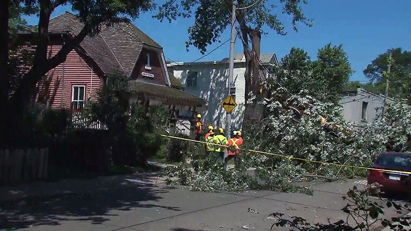 The city is cleaning up from an intense thunderstorm that swept through the area, toppling trees and leaving thousands of residents without power in Toronto on Saturday, July 20, 2013.