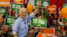 NDP Leader Jack Layton waves to supporters at a campaign rally in Courtenay, B.C. on Friday, April 29, 2011. (Andrew Vaughan / THE CANADIAN PRESS)