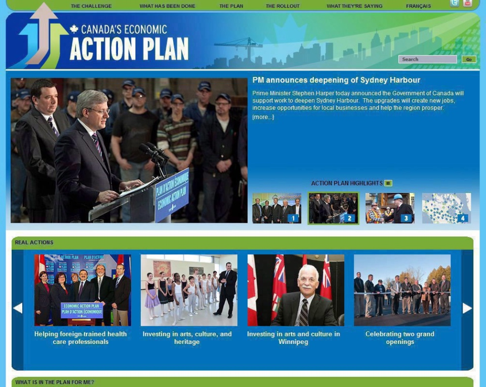 The home page for the website of Canada's Economic Action Plan is shown in an sceen grab from Jan. 5, 2011. (THE CANADIAN PRESS)
