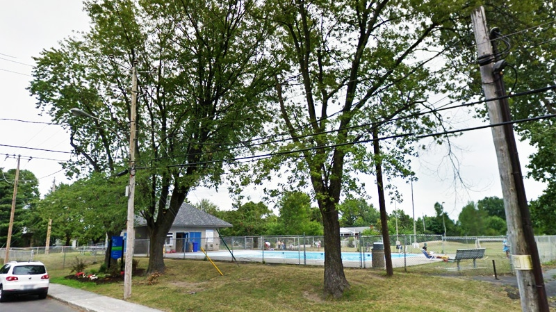 This image of the Paul VI pool, recorded on Google Street View two years ago, shows the trees hovering over the pool where the young life guard was killed Friday. (Image Google Street View)
