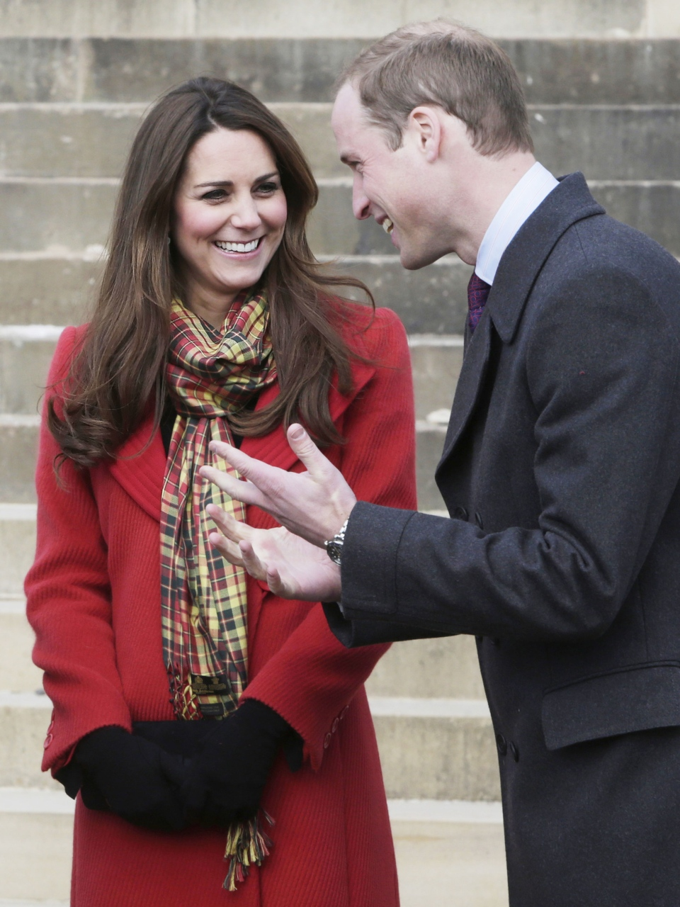 Prince William and Kate Duchess of Cambridge, smile during a visit to Dumfries House in Dumfries, Scotland Friday April 5, 2013. (AP / Danny Lawson)