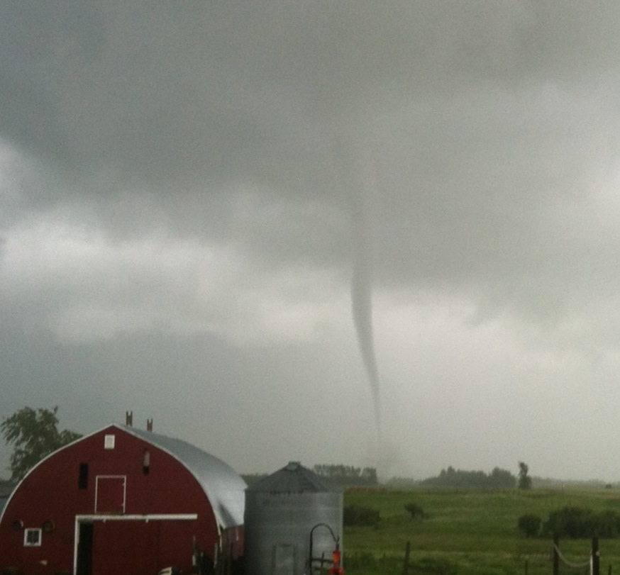 Meteorologists confirm this twister seen southeast of Killarney was a tornado. Courtesy: Janelle Macaulay