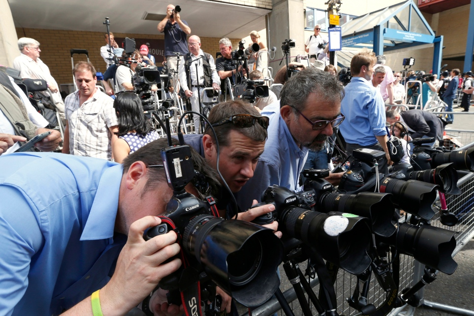 Photographers adjust their camera's outside St. Mary's Hospital exclusive Lindo Wing in London, Monday, July 22, 2013.  (AP / Lefteris Pitarakis)