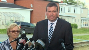 MP Christian Paradis announces federal government funding to help rebuild Lac-Megantic, Monday, July 22, 2013.
