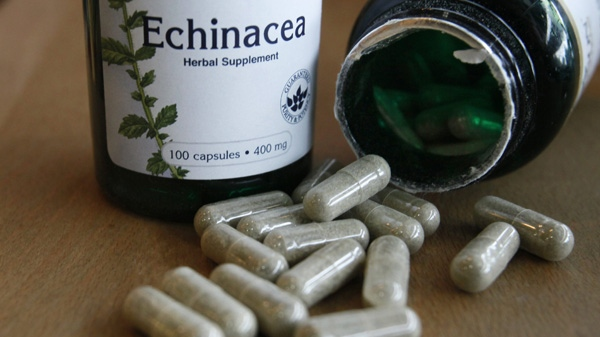 The dietary supplement echinacea is displayed in a shop Monday, Dec. 20, 2010, in Seattle. (AP Photo/Elaine Thompson)