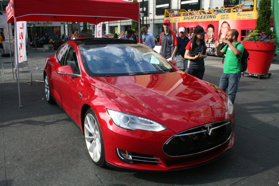 The Tesla Model S EV at Yonge-Dundas Square (Brent Jamieson/CTVNews.ca)