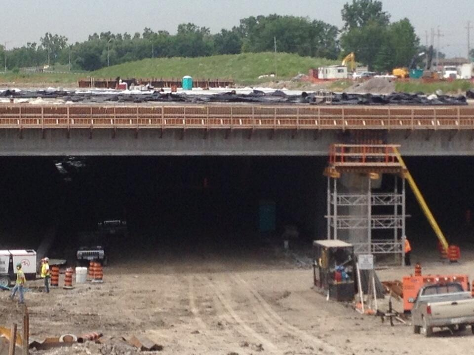 Girders are the concrete support beams that cap tunnels being built throughout the parkway in Windsor, Ont.,on July 23, 2013. (Christie Bezaire / CTV Windsor)