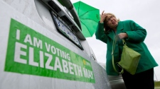 Green Party leader Elizabeth May leaves after casting her ballot in the federal election at a polling station in Sidney, B.C., on Monday May 2, 2011. THE CANADIAN PRESS/Darryl Dyck