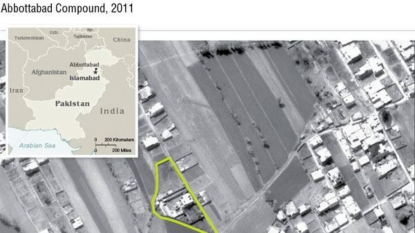 This undated aerial handout image provided by the CIA shows the Abbottabad compound in Pakistan where American forces in Pakistan killed Osama bin Laden, the mastermind behind the Sept. 11, 2001 terrorist attacks. (CIA)