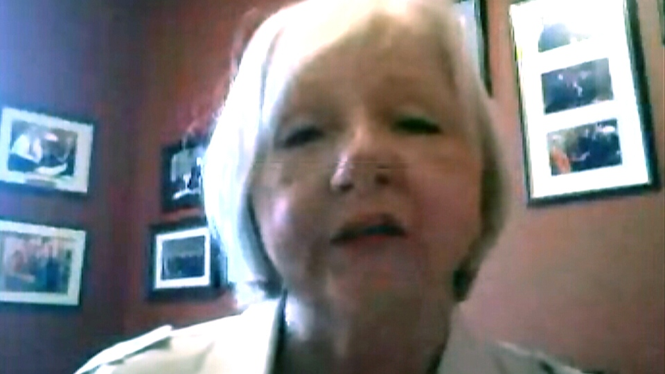 Conservative MP Joy Smith appears on Canada AM via Skype, Wednesday, July 24, 2013.