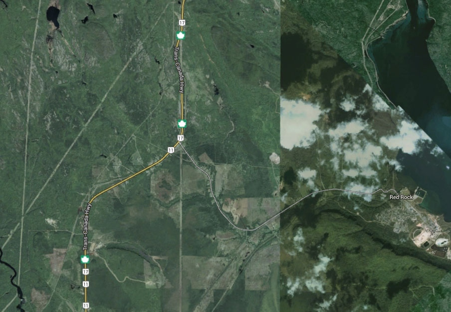 Two cyclists on a cross-country group tour are dead after a collision on Highway 11/17, near the area of Red Rock. (Google Earth)