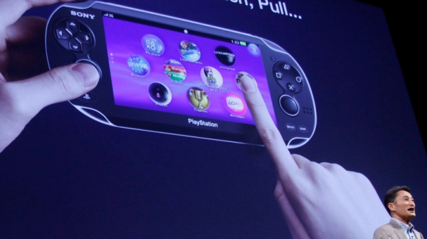 Sony Computer Entertainment President and CEO Kazuo Hirai speaks how to use its new PlayStation Portable 'NGP' at PlayStation Meeting 2011 in Tokyo. (AP / Shizuo Kambayashi)