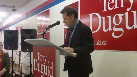 Winnipeg South Liberal candidate Terry Duguid lost to incumbent Rod Bruinooge